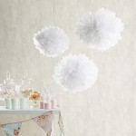 Set di 9 pompon in carta velina bianca, rosa e avorio di Lights4fun