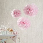Set di 9 pompon in carta velina bianca, rosa e avorio di Lights4fun