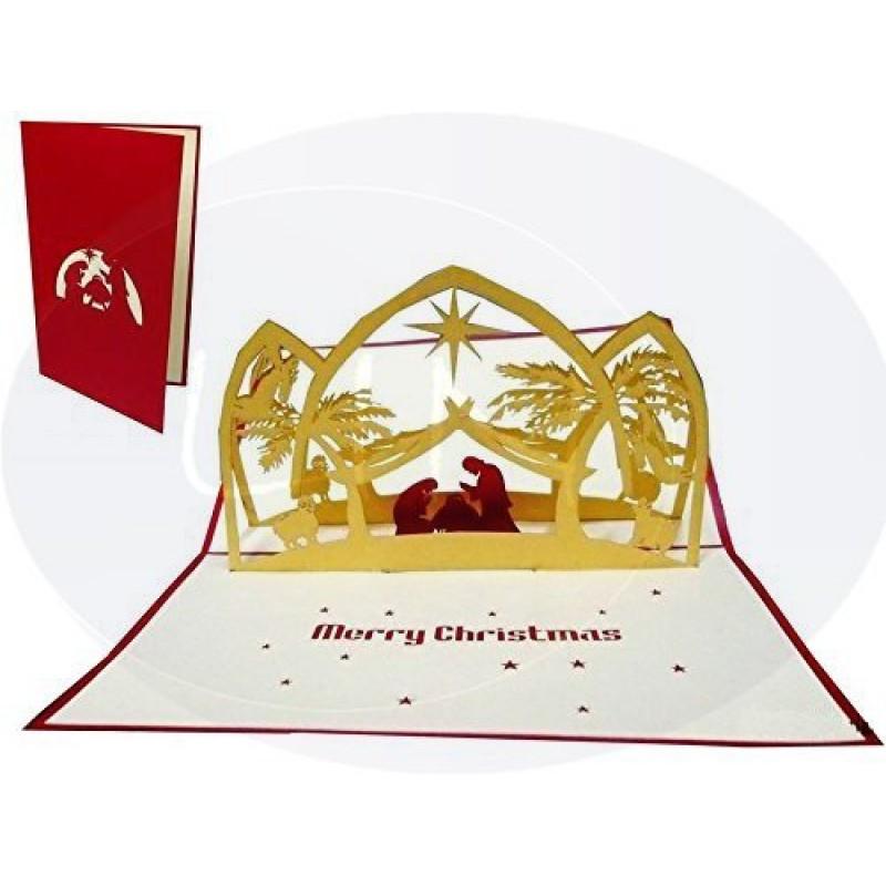 Auguri Di Natale 3d.Lin Pop Up 3d Biglietto D Auguri Di Natale Presepio 426