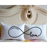 """Anniversario, idea regalo per matrimonio, coppia di federe, motivo: simbolo dell'infinito con scritta """"Love"""" con nome Personalzied d'Cushion Covers..."""