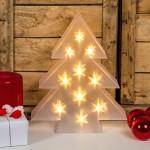 Albero bianco MAGIC 3D a batteria, 30 cm, 10 led bianco caldo, decorazioni natalizie, alberi di Natale luminosi