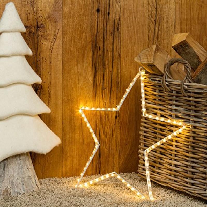 Stella Luminosa Di Natale.Stella 60 Cm In Tubo Luminoso 72 Led Bianco Caldo Stelle Luminose