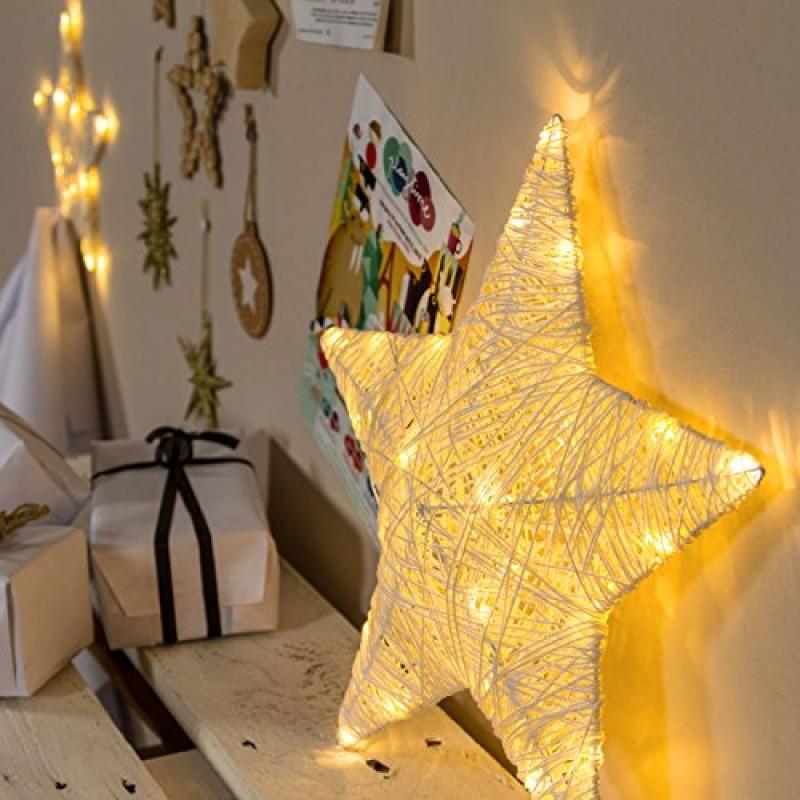 Stella Di Natale Led.Stella Di Carta Da Appendere 40 Cm 25 Led Bianco Caldo