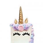 LUTER Decorazioni Torte, 5 Pezzi Oro Unicorno Toppers Torta/Cake Topper, Unicorno Horn, Orecchie e Ciglia Set, Decorazioni per Feste di Compleanno/...