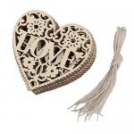 10pcs Amore Cuore Legno Abbellimento Albero Di Natale Appeso Ornamento Decorazione
