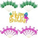 25 Pezzi Ananas Topper per Torte Topper per Cupcake Fenicottero Buon Compleanno per Luau Hawaiano Decorazioni per Feste Estive Tropicali (Stile Set 2)