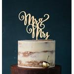 """Cake Topper - Decorazione in acrilico per torta nuziale con scritta in lingua inglese """"Mr & Mrs"""" legno"""