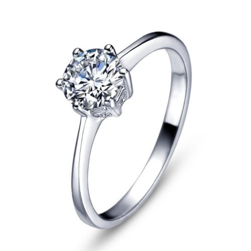 0c35978e5c1501 MARENJA Argento-Anello di Fidanzamento Donna Argento 925 Sterling Solitario  Zirconia Cubica