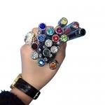 Mengran®, penna a sfera in metallo, con brillanti e strass, punta retrattile, colore nero/bianco/rosa/rosso/rosa/oro/verde/azzurro/blu scuro/blu pa...