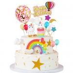 MMTX Decorazione Torta Unicorno Festa Compleanno Unicorno Cake Topper Arcobaleno Palloncino Buon Compleanno Banner Decorazione Torta per Ragazzi Ra...