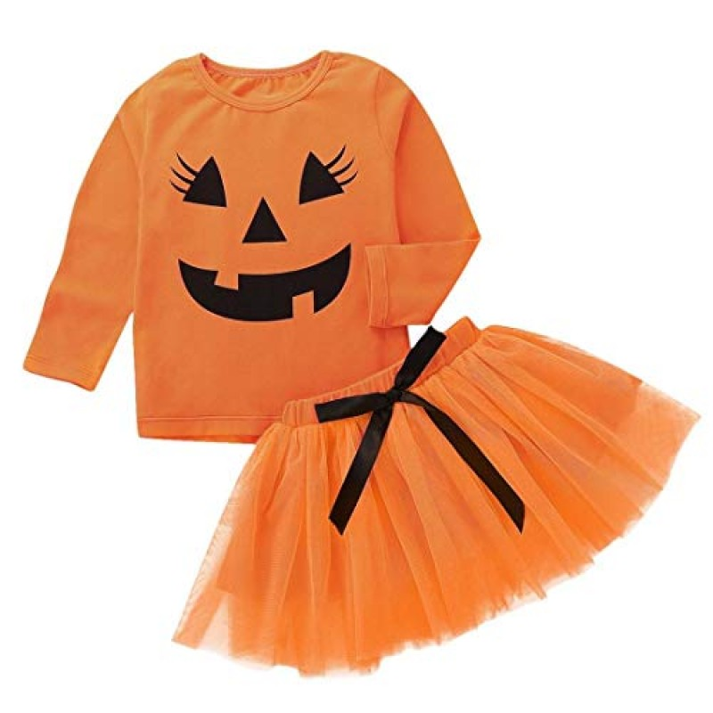Travestimento Halloween Bambina Vestiti Halloween Bambino Baby Girls Zucca  Cartoon Stampa Maniche Lunghe Cime + Bow ... 7e6132fcf9a