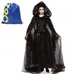 Costume da Strega Nero Halloween Cosplay,Travestimento di Sposa Fantasma Orrore Vestito dal Petto Pizzo Copricapo Veil Medioevo Vampiro Sacerdotess...