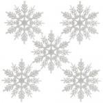 Naler 24PCS Bianco Glitter Shimmer Fiocco di Neve da Appendere Decorazioni per Albero di Natale Finestra Decorazione di Vacanza, Fai da Te, Matrimo...