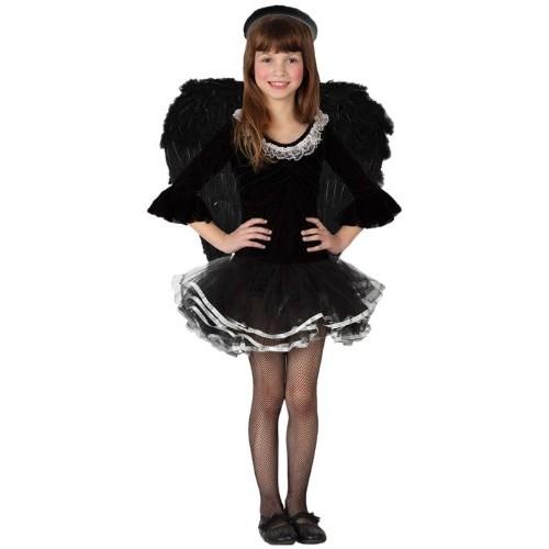 Costume Da Angelo Nero Bambina Taglia 10/12 Anni_15030