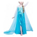 Nice sport, vestito del compleanno della Principessa Elsa di Frozen, costume da carnevale per bambina