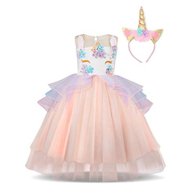 30d53f0110a9 NNJXD Ragazza Unicorno Ruffles Fiori Festa Cosplay Abito da Sposa Vestito  della Principessa + Copricapo di