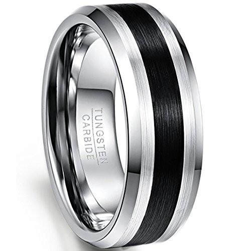 Nuncadanello di fidanzamento, anello anniversario, anello in tungsteno, argento con finitura nera, lucida e spazzolata, strisce nere, comoda largh...