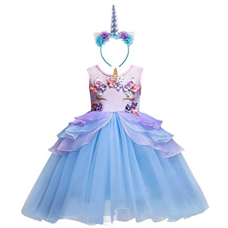 low priced 1c5b3 972f5 OBEEII Costume da Unicorno Vestito Elegante da Ragazza Tutu ...