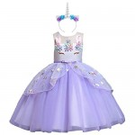 OBEEII Ragazza Vestito Unicorno Ruffles Fiori Festa Principessa Compleanno Battesimo 11-12 Anni