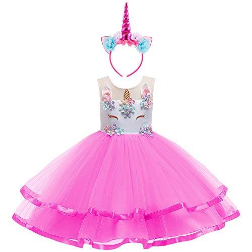 unicorno carnevale bambina  OBEEII Unicorno Costume Carnevale Bambina Abito Principessa Vestito ...