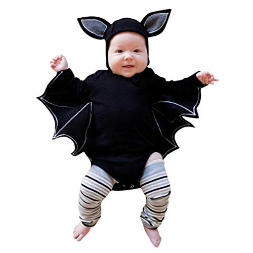 Bambino Manica Lunga Halloween Cosplay a Pipistrello Ha Yi + Cartoon Ear Hat Set di Vestiti del Cappello Pagliaccetto Costume delle Ragazze dei Rag...