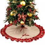OurWarm Large Burlap Christmas Tree Skirt 122cm base albero di Natale di Natale Decorazioni rosso e nero plaid