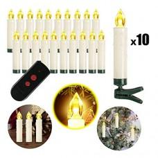 OZAVO Candele LED Senza Fiamma,Set di 10 Luci Candele con Telecomando per Albero di Natale, Decorazioni Feste