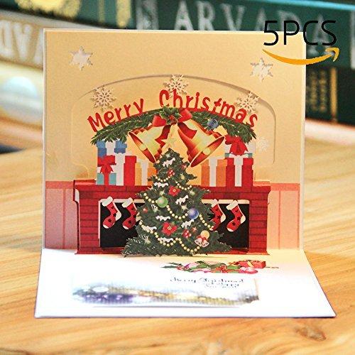 6pcs Biglietto Natale Pop Up Paper Spiritz Biglietto Auguri Compleanno Natale 3D Pop Up Christmas Card