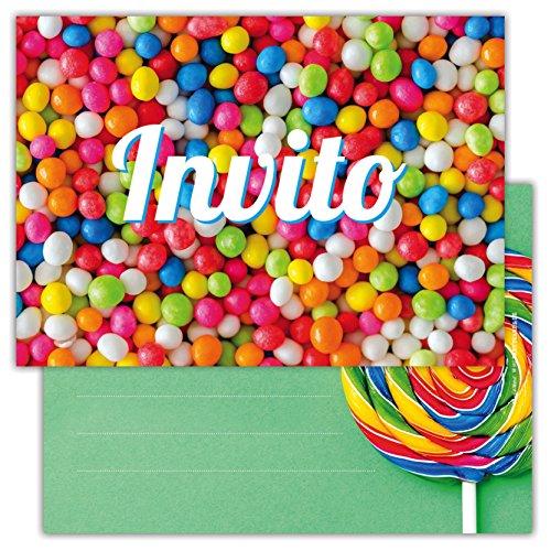 Partycards Set di 12 inviti compleanno Biglietti invito per festa compleanno Per Bambini e Adulti in Italiano - Caramelle colorate