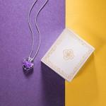 Pauline & Morgen Cuore oceanica Collana donna con cristalli da Swarovski viola colore argento regalo compleanno san valentino natale festa della ma...