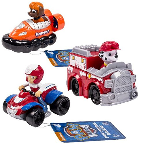 PAW PATROL 6026590-Rescue Racers Confezione 3 Personaggi, Marshall, Zuma, Rider, 6026590