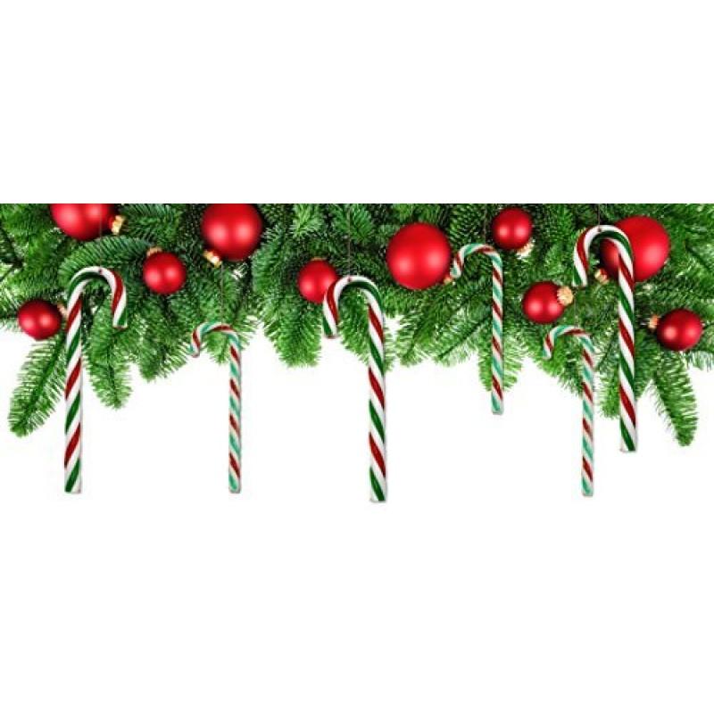 Accessori Natale.Xxl Set 12 X12 X Canne Di Caramella In Plastica Rosso Bianco