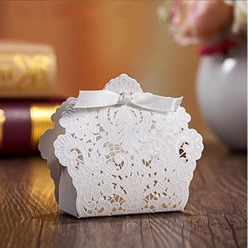 PONATIA 50 PCS Taglio a laser con il favore del partito di nozze del nastro, borse per regali di nozze Caramelle al cioccolato e confezioni regalo ...