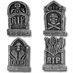 Prextex Confezione da 4 Decorazioni Halloween Lapidi RIP 43 cm da Cimitero in Schiuma Leggera Decorazione Tomba per Halloween RIP