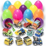 Prextex Uova di Pasqua Medie Piene di Giocattoli Riempite con Veicoli da Costruzione a Molla