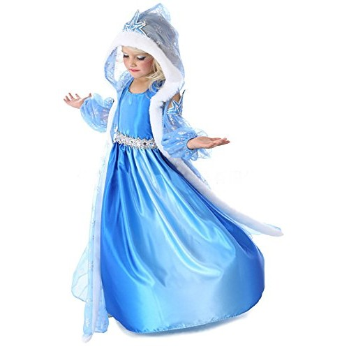 """Costume bambina """"Regina del Ghiaccio/Principessa delle Nevi"""" con mantello – 3 pezzi – Blu - Tg. 120 (110-116)"""
