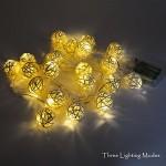 Princeway Batteria Caricata Stringa di Luce LED per Decorazione Albero di Natale, Decorazione di Halloween e Festa di Matrimonio- 20X LED Palla in ...