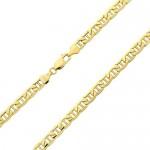 Catena in oro giallo 585 da 14 carati con maglia piatta marinara, lavorazione italiana, larghezza 3,1 mm, lunghezza a scelta, Oro giallo, colore: o...