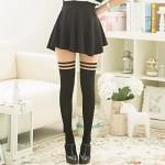 QHGstore Ginocchia donne Girl Autumn velluto sottile su lunghe Calze Collant Calze strisce nere