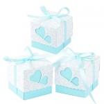 QUMAO (5*5*5cm) 100 pz Scatole Portaconfetti di Carta, incluso Nastrino, Bomboniere Regalo Segnaposti Decorazioni per Festa Matrimonio Battesimo Co...