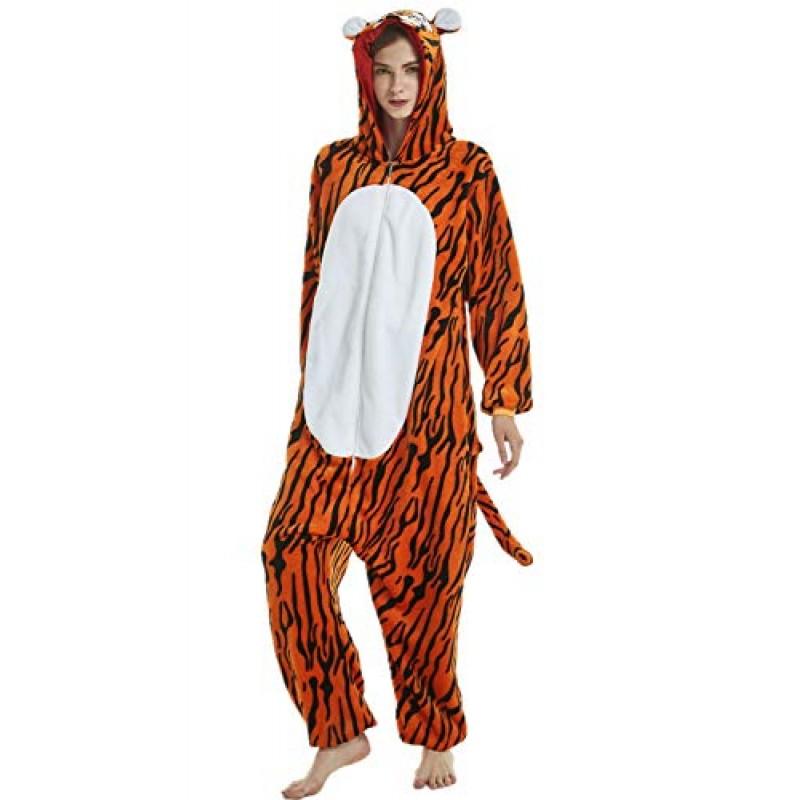 Adulto e Bambino Unisex Unicorno Tigre Leone Volpe Tutina Animale Cosplay Pigiama Costume di Carnevale di Halloween Fancy Dress Loungewear