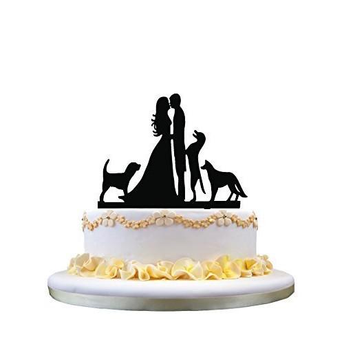 cake topper sposo e sposa con 3cani cake topper matrimonio decorazione