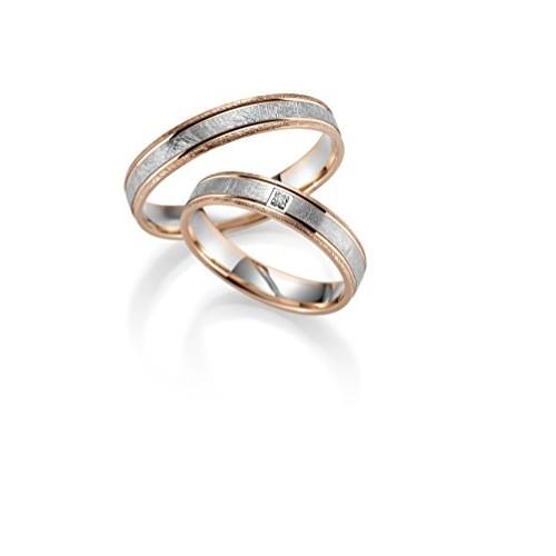 333Oro Fido anelli in bicolore rosso/bianco oro con pietra UBD inciso nel prezzo al paio