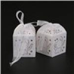 ROSENICE 50pz Scatole Bomboniera Portaconfetti Scatole Regalo con Nastro (Cuore Bianco Elefante)
