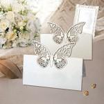 50 Avorio Farfalle Cartellini segnaposto bomboniera matrimonio inviti