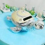 (20 bomboniere+salvadanaio tartaruga con confetti) torta bomboniere battesimo maschio animaletti argentati misti con centrale salvadanaio kkk (tort...