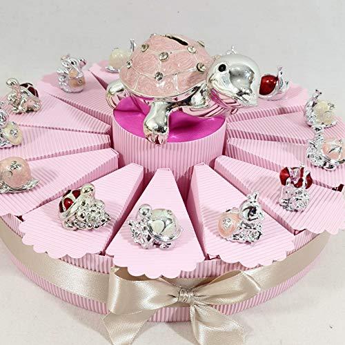 bomboniere Animali argentati a Torta bomboniere per Nascita, Battesimo,Compleanno, Comunione Femmina. Torta con fette + Confetti + Oggetti + salvad...