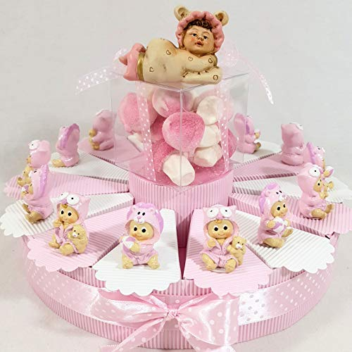 bomboniere Battesimo Nascita con Torta bomboniera spedizione Gratis con Confetti Rosa