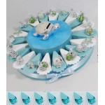 (Torta + 20 fette + 20 bomboniere+salvadanaio Tartaruga + 20 Blister di 5 Confetti) Torta bomboniere Battesimo Maschio animaletti argentat Centrale...