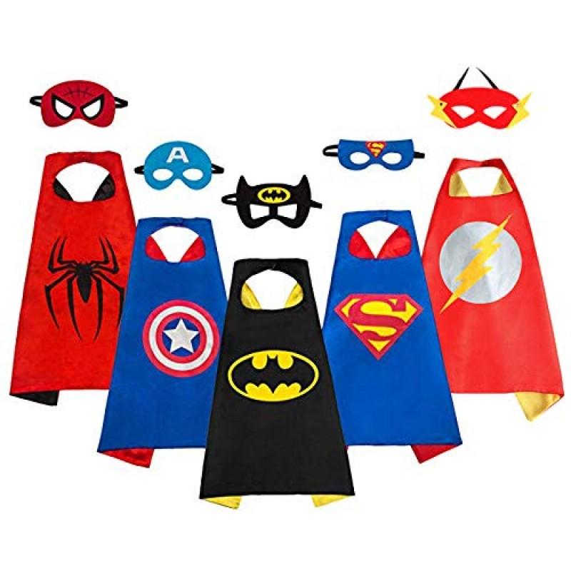 Sinoem Costumi Da Supereroi Per Bambini 5 Mantelli E 5 Maschere